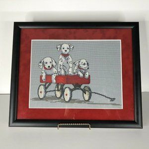 Dalmatian Dog Cross Stitch Picture Complete Framed
